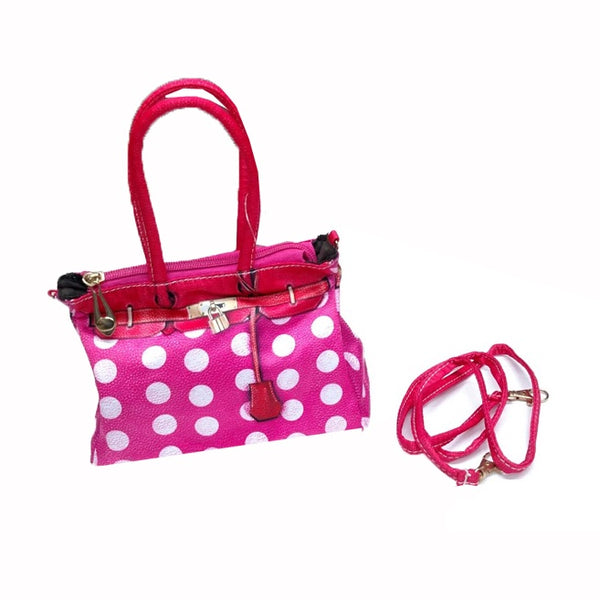 "PURSE, POLKA DOT. PINK AND WHITE, WITH STRAP, CHILDREN""S"