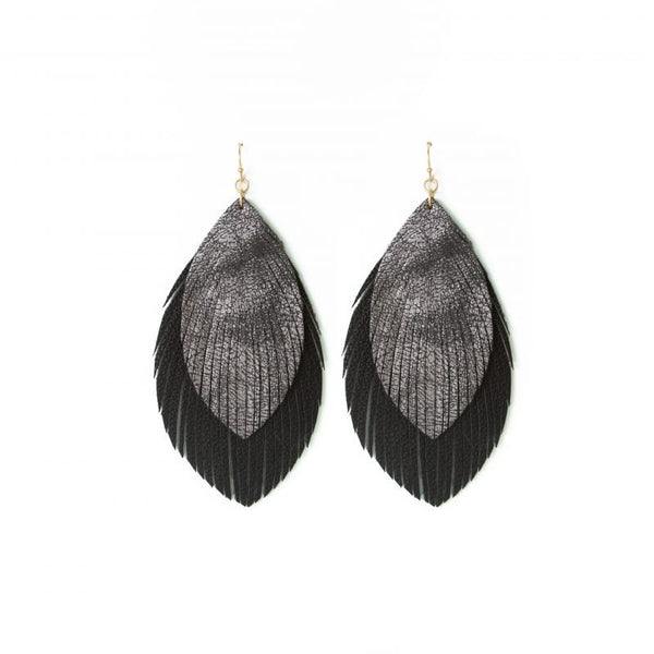 EARRINGS BLACK DOUBLE LEAF GOLD