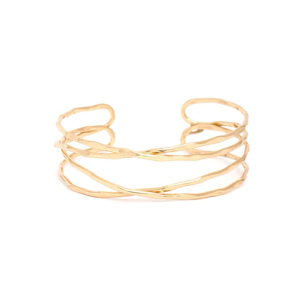 BRACELET GOLD 4 ROW INTERTWINED CUFF