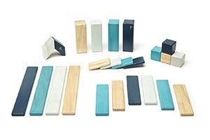 TEGU, MAGNETIC WOODEN BLOCKS, BLUES, 24 PIECE