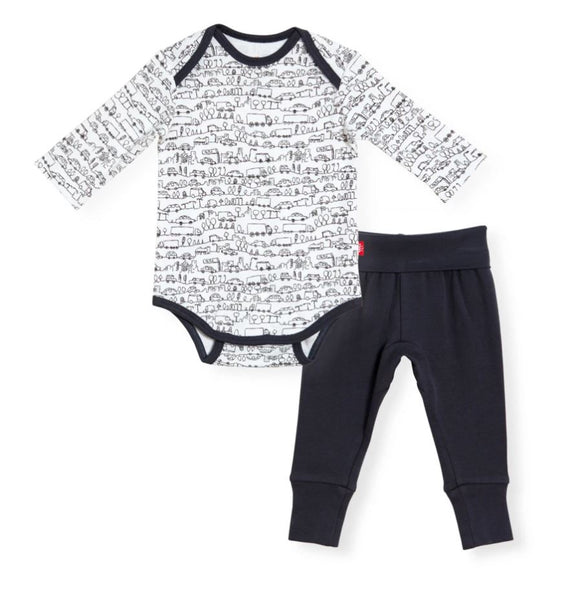 2PC ORGANIC COTTON GOING PLACES ONESIE AND PANT