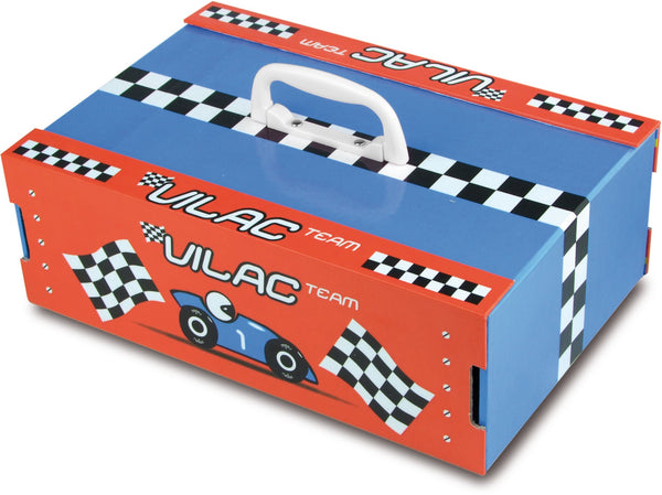 RACE TRACK, RACE TRACK SUIT CASE, PUZZLE, 3 CARS. MAKE YOUR OWN TRACK,