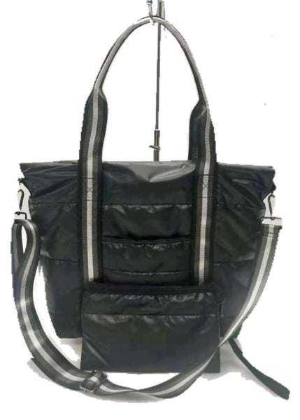 JAIME PUFFER TOTE FLY BLACK WITH SILVER STRAP