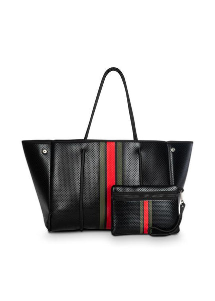 GREYSON TOTE BELLO BLACK COATED ARMY BLACK RED STRIPE