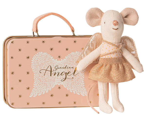 LITTLE SISTER MOUSE - GUARDIAN ANGEL IN TIN SUITCASE