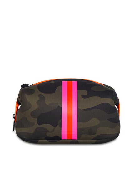 ERIN COSMETIC CASE SHOWOFF GREEN CAMO PINK ORANGE STRIPE