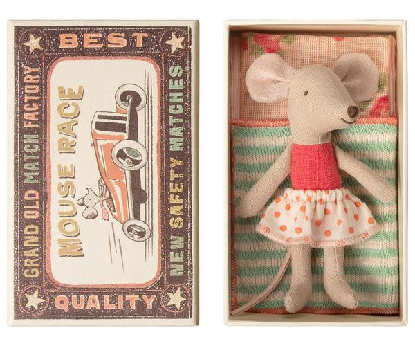 LITTLE SISTER MOUSE IN BOX CORAL POLKA DOT