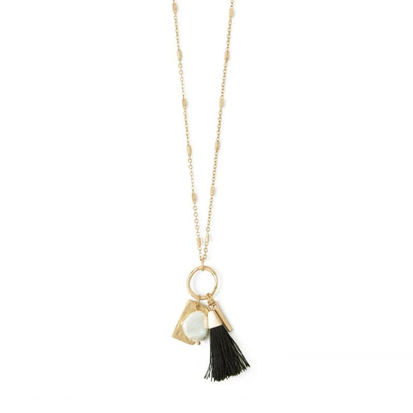 NECKLACE SMALL BLACK TASSEL ON RING GOLD