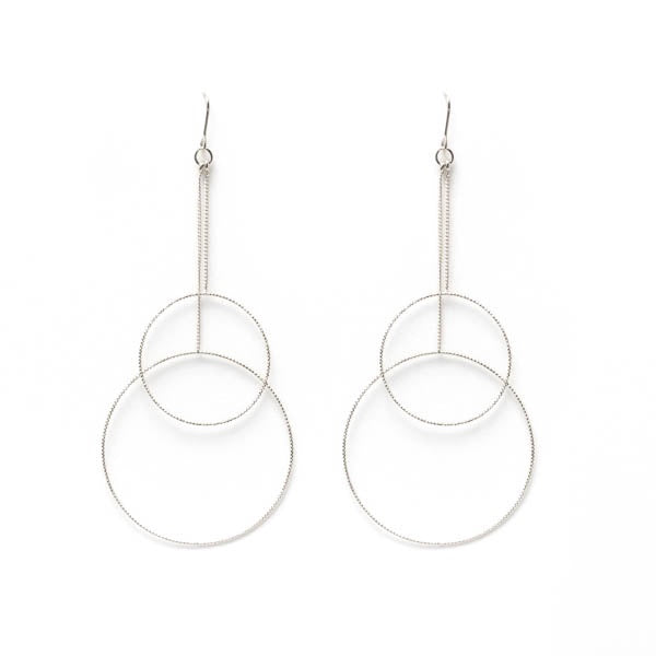 EARRING LONG DOUBLE CIRCLE SILVER