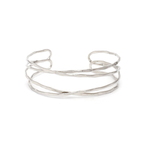 BRACELET SILVER 4 ROW INTERTWINED CUFF