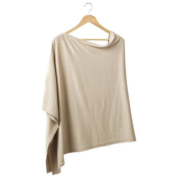 BEIGE SOLID COTTON PONCHO