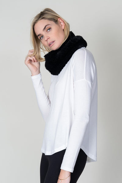 KNITTED FUR NECK WARMER BLACK