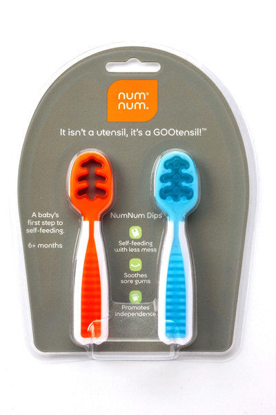 NUM NUM, SOLD IN TWO PACK, UTENSIL, DOUBLES AS A TEETHER, SHORT HANDLE,  GAGA FOR KIDS