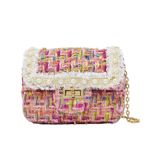 Zomi Gems mini purse, kids, children, woven pink tweed, pearl detail, gold chain, gold closure