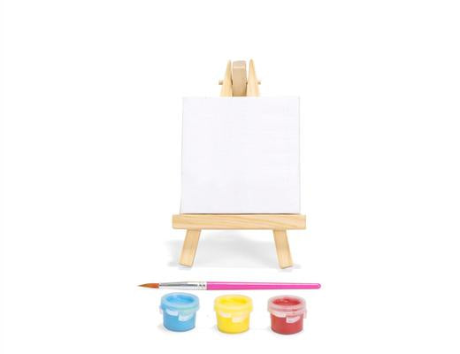 MINI PAINT SET W/ CANVAS EASLE PAINT AND BRUSH