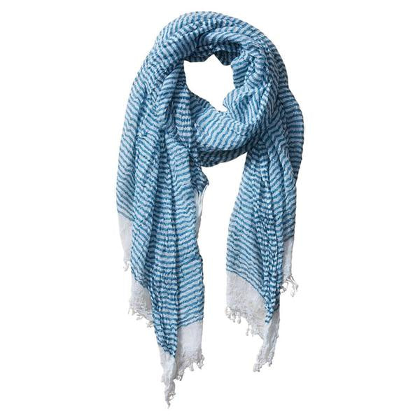 INSECT SHIELD SCARF - TINY STRIPE BLUE