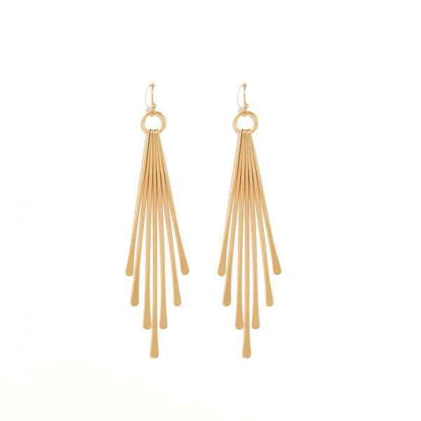 EARRINGS FLAT LONG GRADUATING BARS GOLD