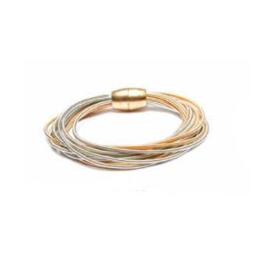 BRACELET MULTI STRAND GOLD AND SILVER COIL