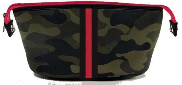 ERIN COSMETIC CASE BRAT CAMO RED BLACK STRIPE