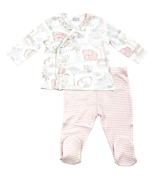 2PC KIMONO TOP AND FOOTIE PINK ELEPHANT WITH BABY
