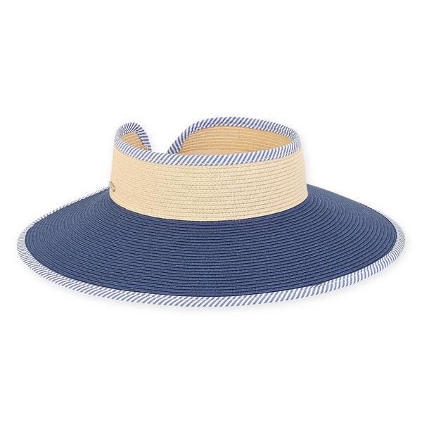 ROLL UP CLASSIC NATURAL BAND WITH NAVY BRIM AND STRIPE TRIM