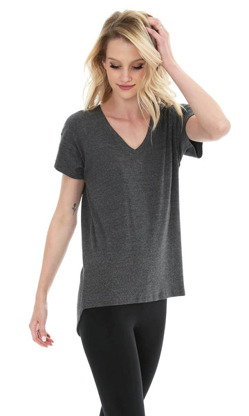 V-NECK HI LOW TEE IN HEATHER BLACK