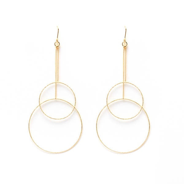 EARRING LONG DOUBLE CIRCLE GOLD