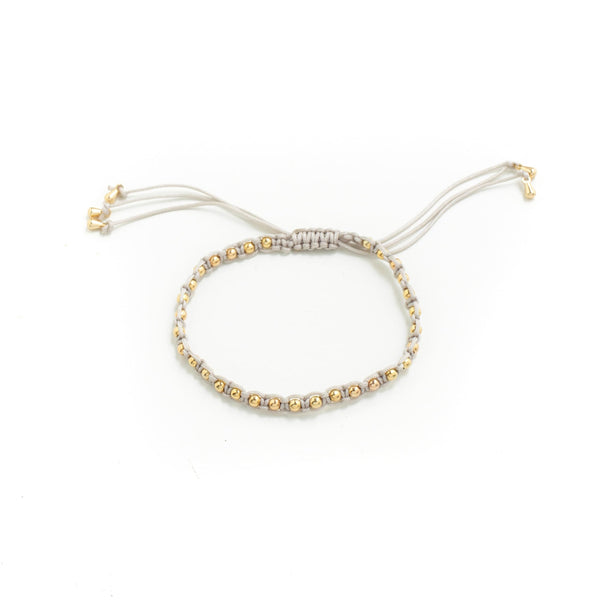 BRACELET LIGHT GREY WOVEN GOLD ROUND BEADS WITH ADJUSTABLE TIE