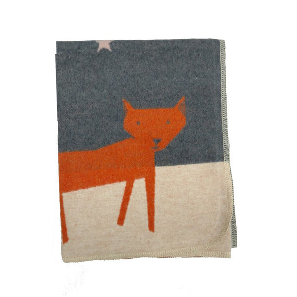 BLANKET FOX/STARS GREY