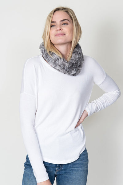 KNITTED FUR NECK WARMER HEATHER GREY
