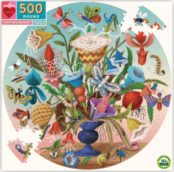 CRAZY BUG BOUQUET 500PC ROUND PUZZLE