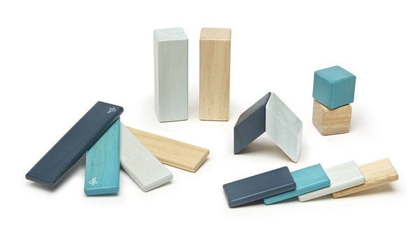 TEGU, 14 PIECE MAGNETIC WOODEN BLOCKS IN BLUES