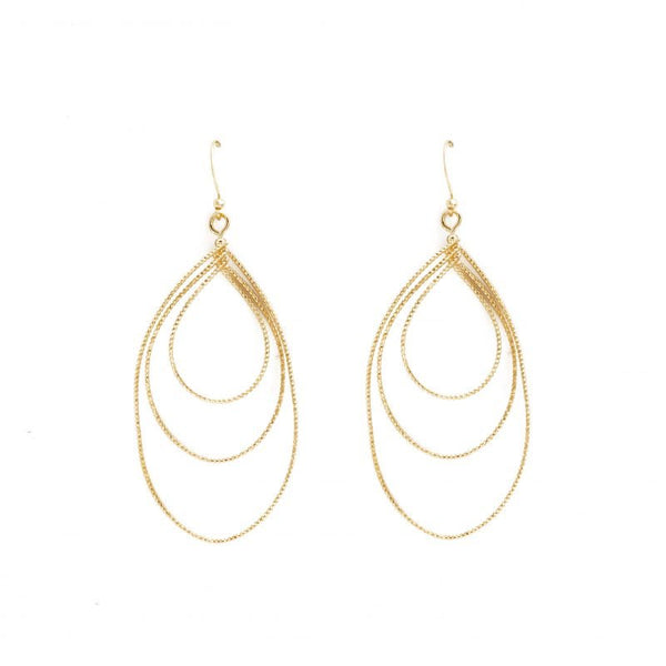 EARRING ABSTRACT TRIPLE TEARDROP GOLD