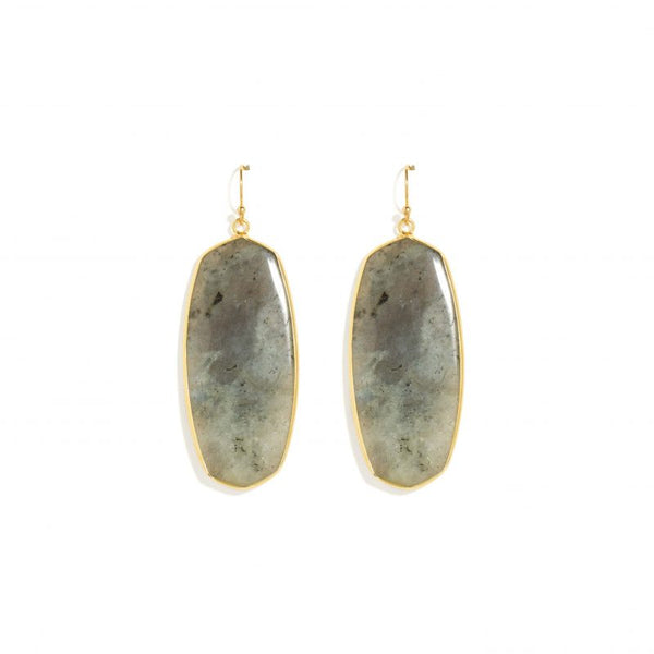 EARRINGS LONG GOLD FRAMED GREY STONE