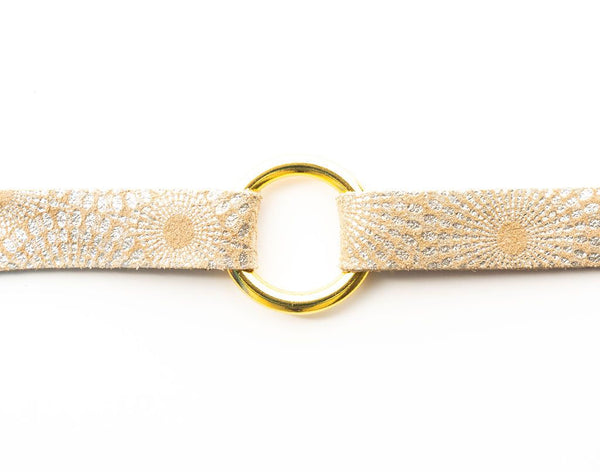 BRACELET STARBURST GOLD LEATHER