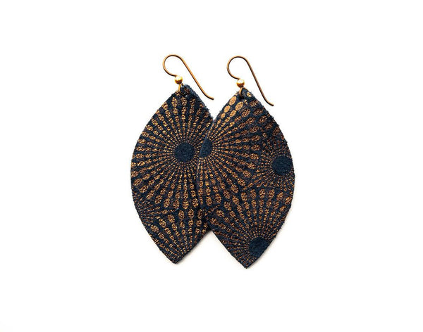 EARRINGS STARBURST BLUE AND BRONZE LEATHER LARGE