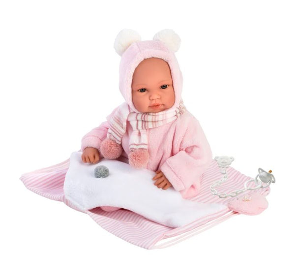 "AMEILLIA 14"" CRYING NEWBORN DOLL WITH CARRIER"