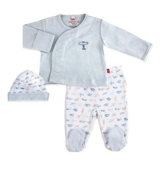 3PC ORGANIC COTTON AIRPLANES ONESIE SET