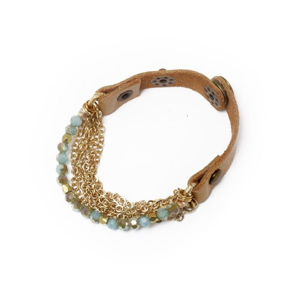 BRACELET VINTAGE AQUA BEADS WITH GOLD CHAINS
