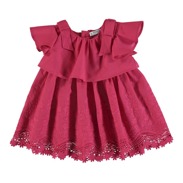 DRESS STRAWBERRY COTTON FLOUNCE