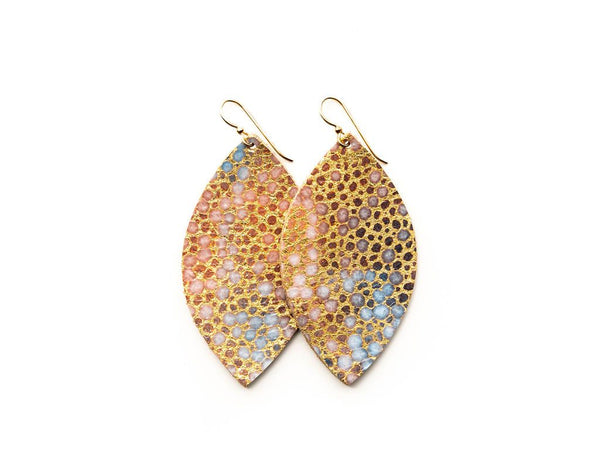 EARRINGS GOLD WITH BLUE SPECKLED LEATHER LARGE