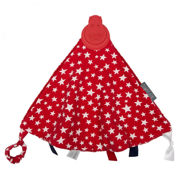 comfort chew,red with white stars and red cuddle fleece reverse,attached red teether,stimulating ribbon tags, gaga for kids