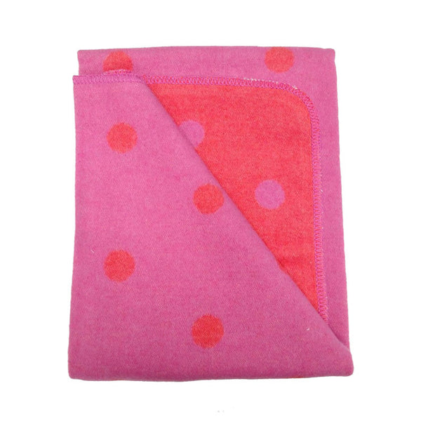 pink polka dot , baby blanket, soft, lightweight blanket.
