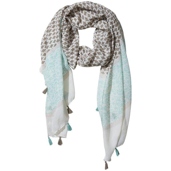 TEAL AND GRAY DIAMOND FRINGE SCARF