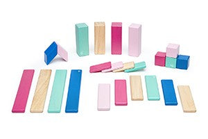 TEGU, 24 PIECE MAGNETIC WOODEN BLOCKS IN BLOSSOM, PINKS
