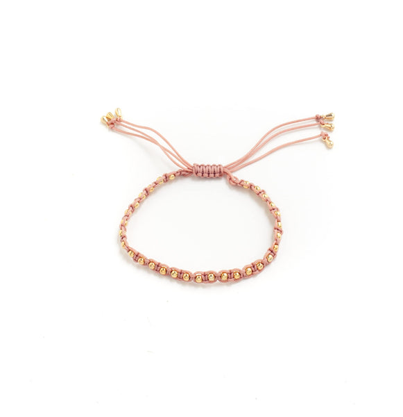 BRACELET ROSE WOVEN GOLD ROUNDED BEADS WITH ADJUSTABLE TIE