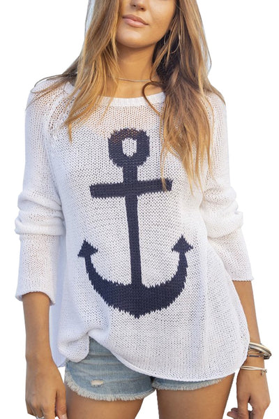 WOMENS SWEATER, GA GA FOR KIDS AND WOMEN TOO, ANCHOR SWEATER, BEACHWEAR, SUMMER SWEATER, COTTON KNITS