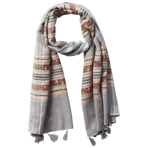 GRAY AZTEC PLAID TASSEL SCARF