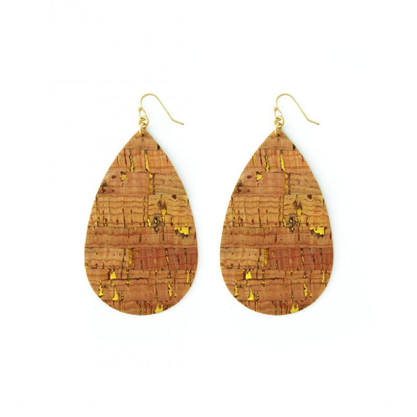 EARRINGS LARGE ACCENTED CORK TEARDROP GOLD