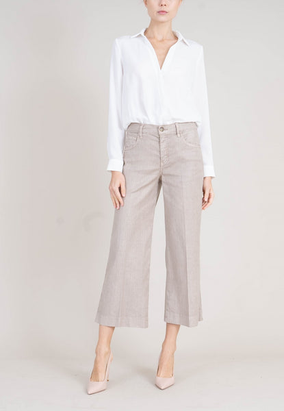 LEVEL 99, WIDE LEG 5 POCKET ANABELLE PANT, DOVER, LINEN BLEND